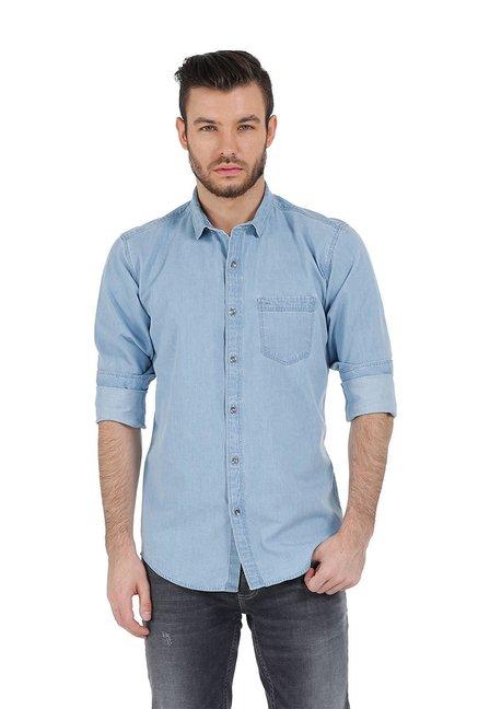 2279e26eba3e Buy Basics Light Blue Cotton Full Sleeves Shirt for Men Online   Tata CLiQ