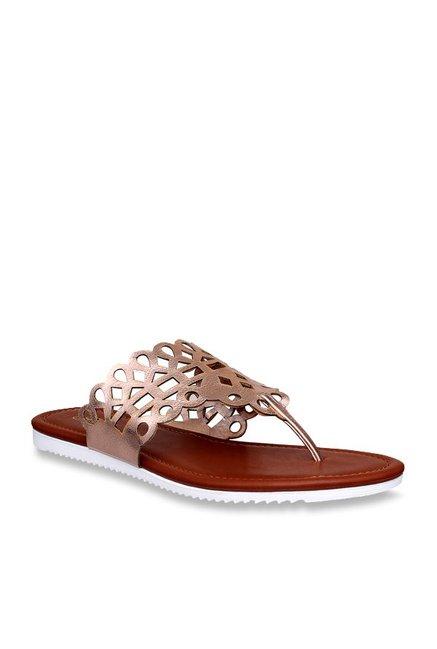 8e8eaf9fb9ba Buy Flora Rose Gold Thong Sandals for Women at Best Price   Tata CLiQ