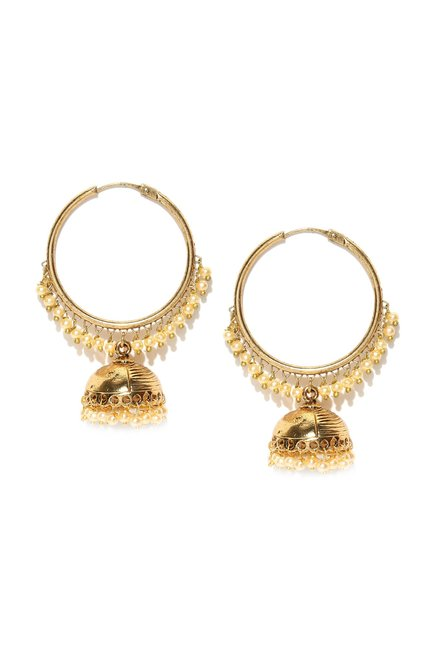 Zaveri Pearls Golden Alloy Jhumki Earrings