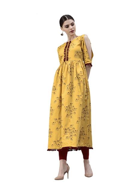 89db1d30a6 Buy Gerua Yellow Printed Cotton Anarkali Kurta for Women Online @ Tata CLiQ