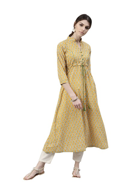 268324c547 Buy Gerua Yellow Printed Cotton Kurta for Women Online @ Tata CLiQ