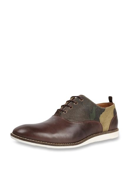 Allen Solly Dark Brown & Beige Oxford Shoes
