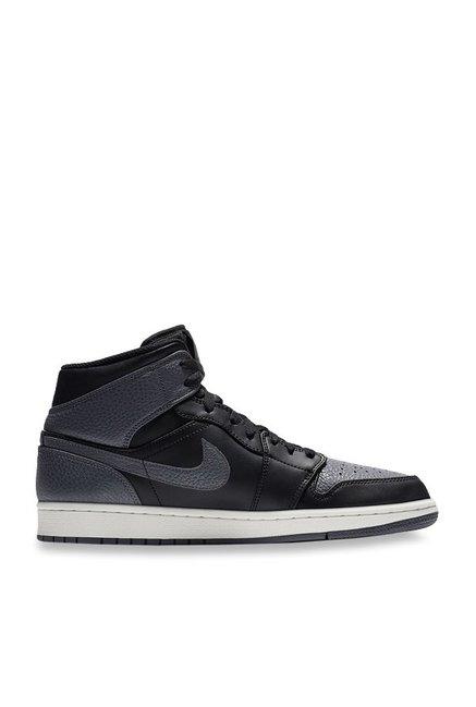 save off f5ba6 ee8fb Buy Nike Air Jordan 1 Mid Black   Dark Grey Ankle High Sneakers for Men at  Best Price   Tata CLiQ
