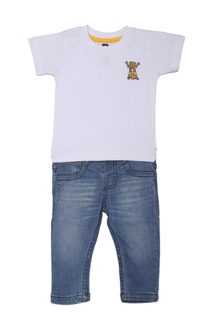 7683cc5c315c2 Buy 612 League White   Blue T-Shirt With Jeans for Infant Boys ...