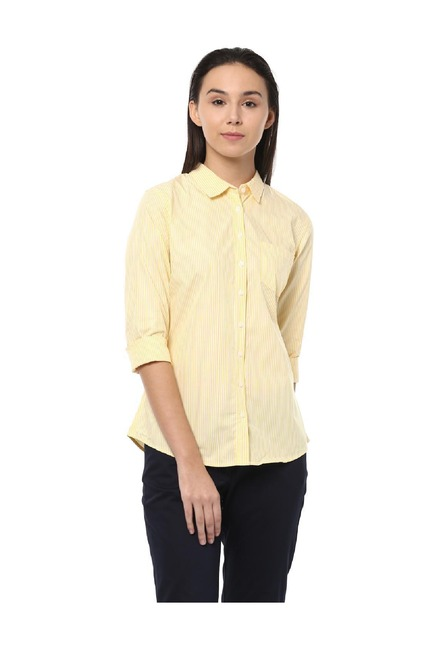 08aad57d06 Buy Solly by Allen Solly Yellow Striped Cotton Shirt for Women ...
