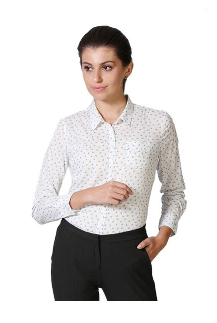 07ea5d3a611a Buy Solly by Allen Solly White Printed Cotton Shirt for Women Online ...