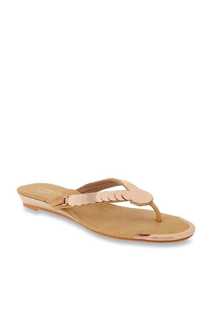 51e65a4be7b4 Buy CERIZ Pictoria Beige   Rose Gold Thong Sandals for Women at ...