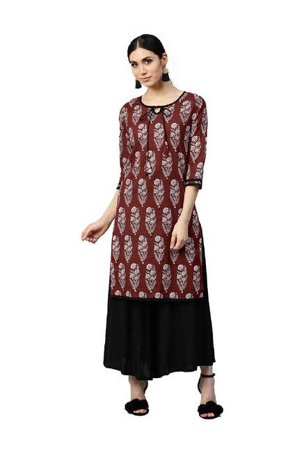 94b0911e68 Buy Jaipur Kurti Maroon Printed Cotton Kurta for Women Online ...