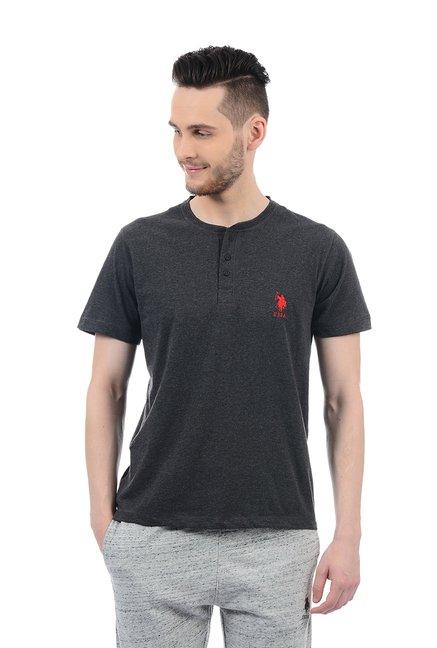 0325bcdce Buy US Polo Assn. Black Half Sleeves T-Shirt for Men Online @ Tata CLiQ