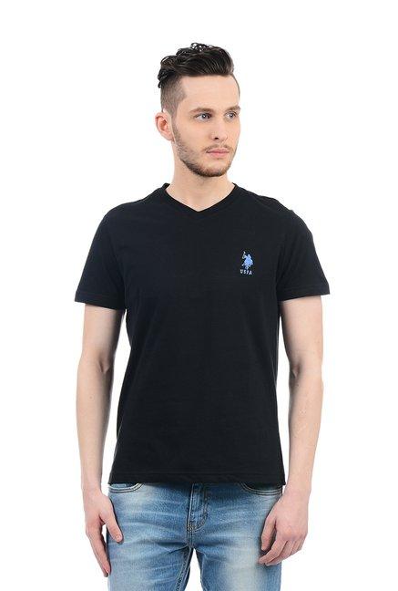 26aab1f2e Buy US Polo Assn. Black Cotton T-Shirt for Men Online @ Tata CLiQ