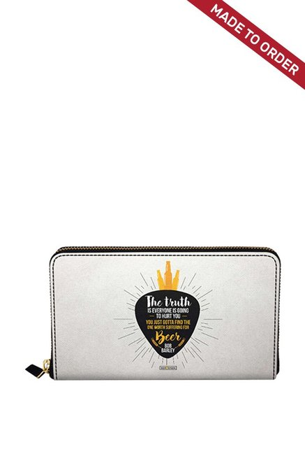 Buy Daily Objects Truth Is Beer White & Yellow Printed Wallet