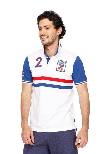 ffe77c571 Buy BHPC White   Blue Cotton Half Sleeves Polo T-Shirt for Men Online    Tata CLiQ