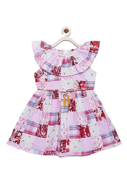 6c75d046be83a Buy Bella Moda Pink Printed Dress for Girls Clothing Online @ Tata ...