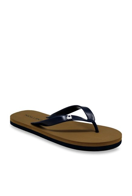 5403d930cec7 Buy United Colors of Benetton Navy   Tan Flip Flops for Men at Best ...