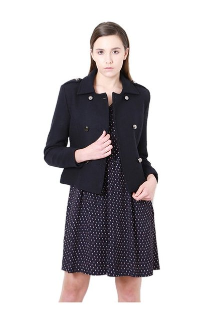 19aaac7f5f0 Buy Van Heusen Navy Regular Fit Jacket for Women Online @ Tata CLiQ