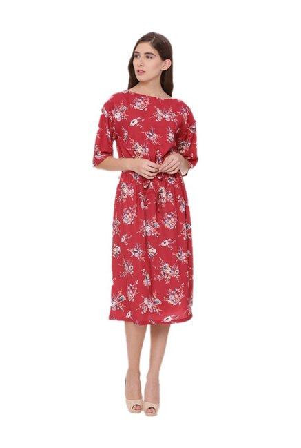 f1dbaacf359 Buy Van Heusen Red Floral Print Below Knee Dress for Women Online   Tata  CLiQ