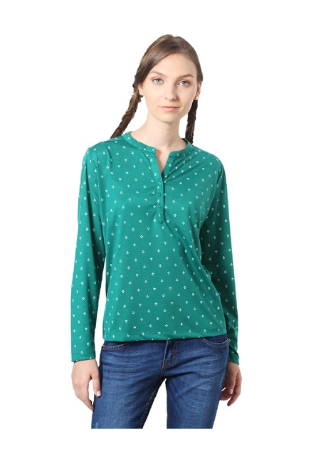 f8780f97ebd Buy People Green Printed Polyester Top for Women Online @ Tata CLiQ