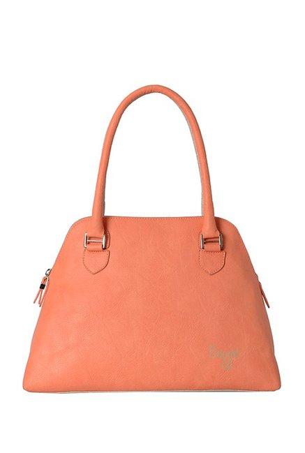 GG By Baggit Muffin Peach & Beige Solid Shoulder Handbag