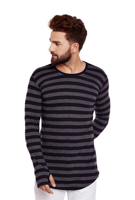 93e80cdaee4 Buy Hypernation Grey   Black Striped Round Neck T-Shirt for Men Online    Tata CLiQ