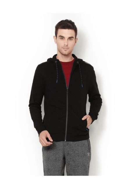 Van Heusen Black Full Sleeves Hooded Sweatshirt