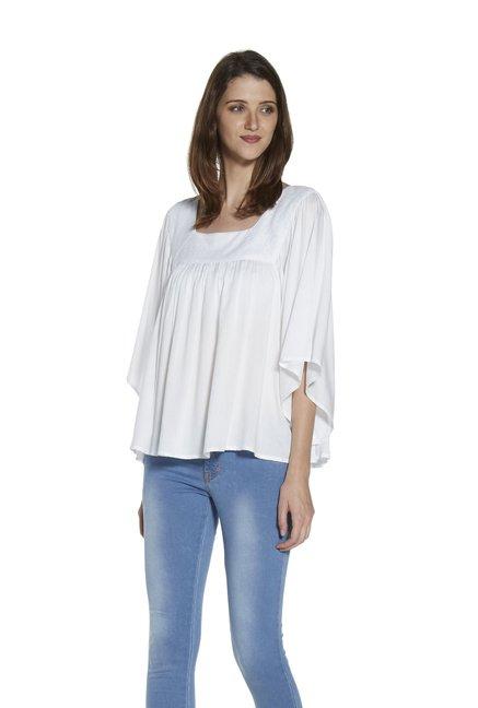 4405c10624f Buy Zudio White Colleen Lace Blouse for Women Online   Tata CLiQ