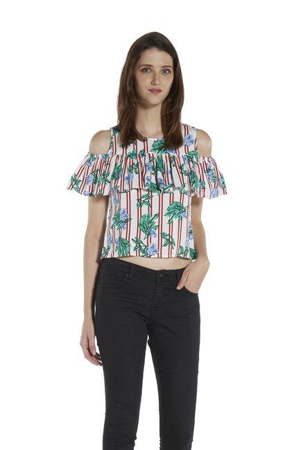 5b2c609c58dbcf Buy Zudio White Erika Cold-Shoulder Blouse for Women Online   Tata CLiQ