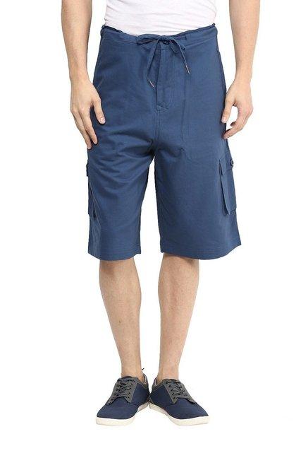 5eea8f672b Buy Hypernation Navy Mid Rise 3/4th Cargo Shorts for Men Online @ Tata CLiQ