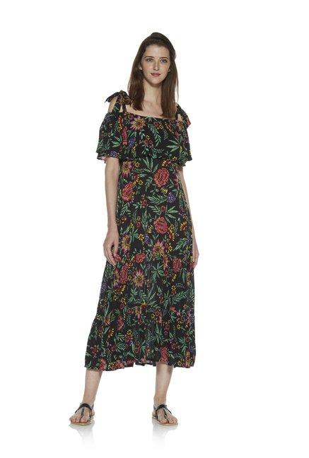 97c4d7a114c4c Buy Zudio Black Floral Print Cold-Shoulder Dress for Women Online   Tata  CLiQ