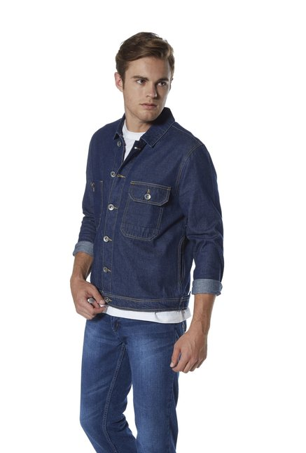 dcac33792483 Buy Zudio Navy Regular Fit Two-Pocket Denim Jacket for Men Online   Tata  CLiQ