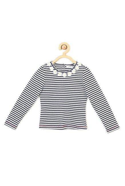 fdb3cebb6 Buy Allen Solly Junior Navy   White Striped T-Shirt for Girls Clothing ...