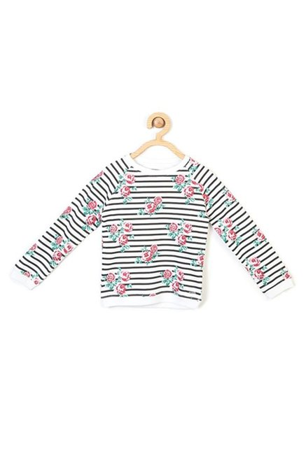 84a7773ef Buy Allen Solly Junior White Striped Sweatshirt for Girls Clothing ...