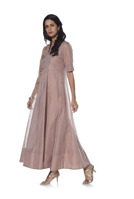 f44678e425f1d Buy Vark by Westside Dull Pink Floral Embroidered Ethnic Gown for Women  Online   Tata CLiQ