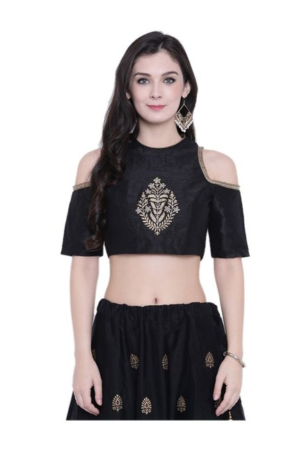 a9a22320f1200 Buy Studio Rasa Black Embroidered Crop Top for Women Online ...
