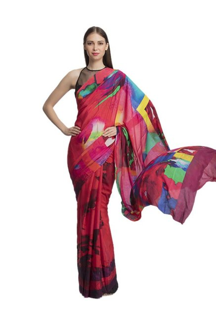 885919b7eb2a0 Buy Satya Paul Multicolor Printed Georgette Satin Saree for Women ...