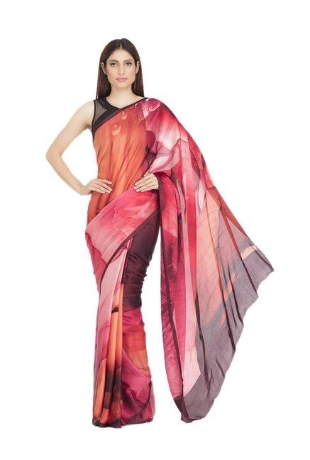 3bc50333cd Buy Satya Paul Old Rose Printed Saree for Women Online @ Tata CLiQ
