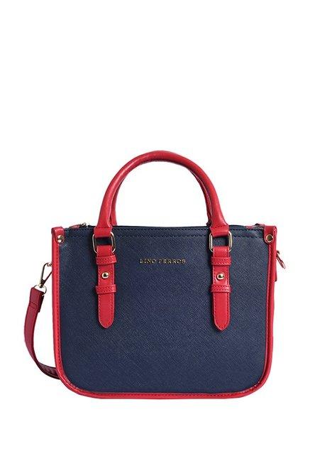 Lino Perros Navy & Red Solid Handbag