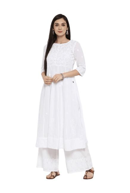 b0c2b85f7e2 Buy Juniper White Self Print Cotton Anarkali Kurta With Palazzo for ...