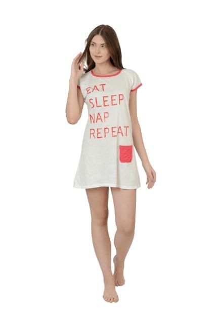 bdea49dfed Buy Da Intimo Off White Printed Cotton Sleep Dress for Women Online ...
