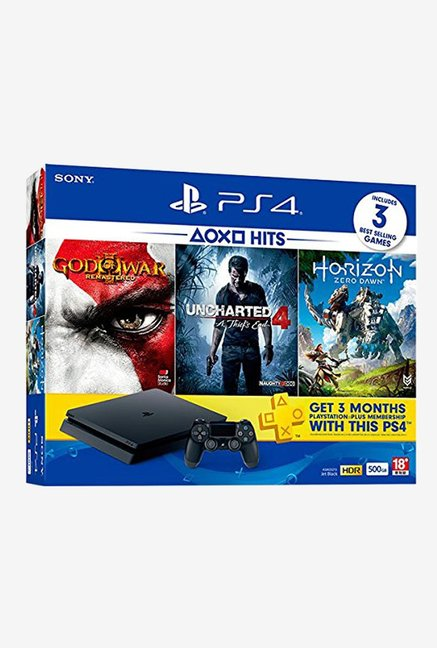 Sony PS4 Slim 500 GB Slim Console With 3 Games (Black)