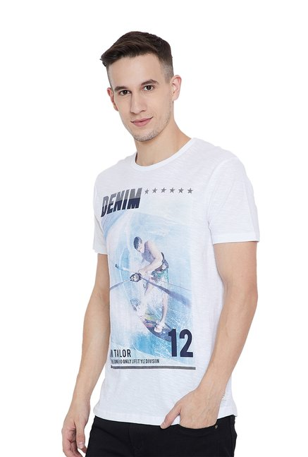 ba837c9e0b Buy Tom Tailor Ice Blue   White Printed T-Shirt for Men Online ...