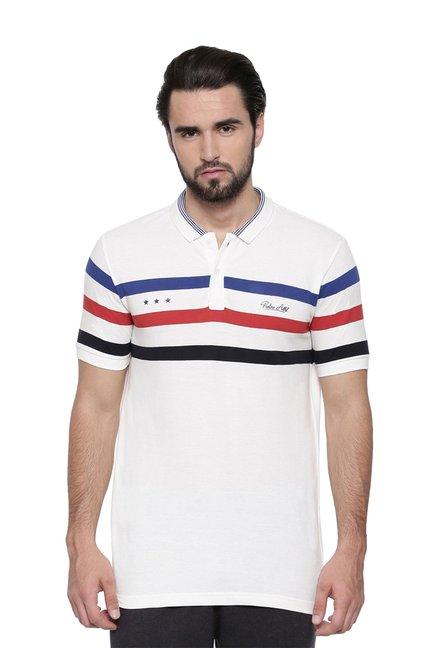 a57fd08b Buy Proline White Striped Cotton Polo T-Shirt for Men Online @ Tata CLiQ
