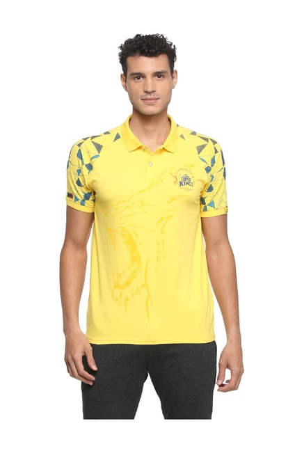 25af810a5b40 Buy Peter England CSK Yellow Polo T Shirt for Men Online   Tata CLiQ