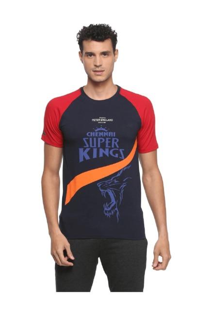 7f9a2725832 Buy Peter England CSK Navy Crew Neck T Shirt for Men Online   Tata CLiQ