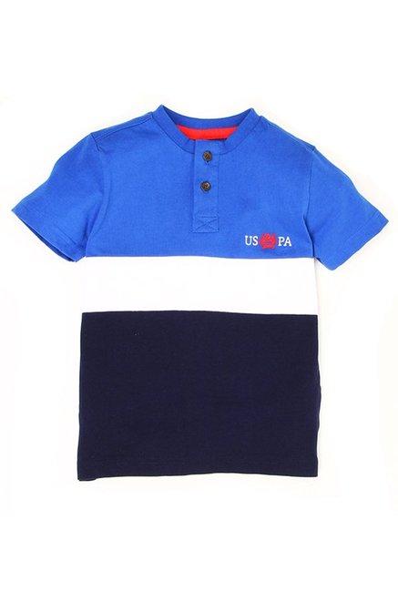1b17da2b4 Buy US Polo Kids Blue Solid T-Shirt for Boys Clothing Online   Tata CLiQ
