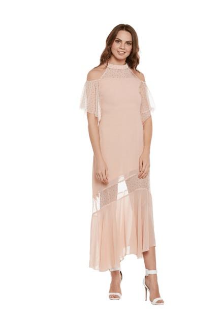 d3ef323a8d19 Buy Athena Pink Self Print Maxi Dress for Women Online   Tata CLiQ
