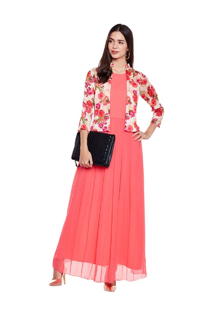 640bf71bfa Buy Athena Peach Printed Maxi Dress for Women Online   Tata CLiQ