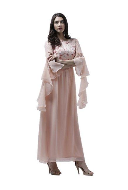 ddf5b4587ff Buy Athena Peach Printed Maxi Ruffled Dress for Women Online   Tata CLiQ