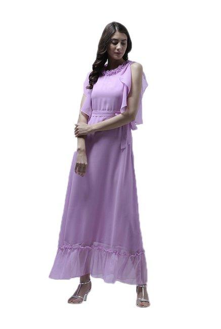 55c51379e09 Buy Athena Lavender Polyester Maxi Ruffled Dress for Women Online ...