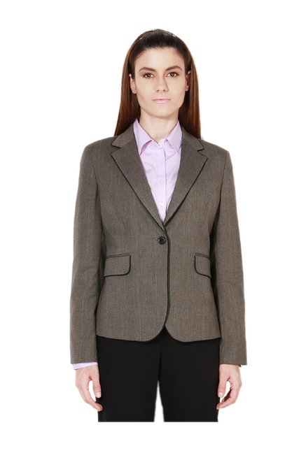 015b5563653 Buy Van Heusen Grey Checks Blazer for Women Online   Tata CLiQ