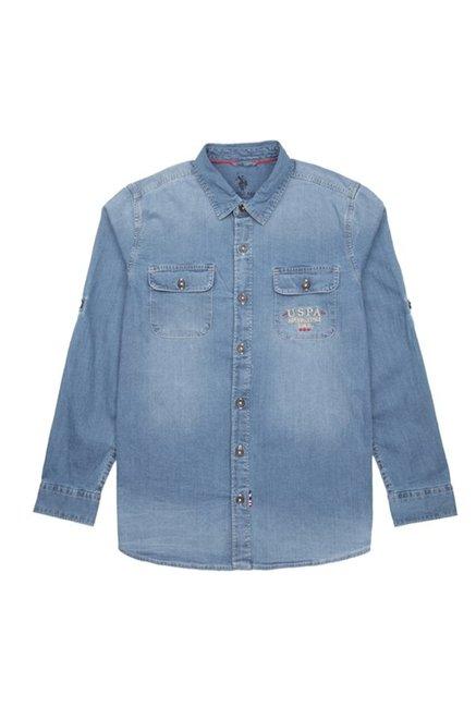 fa9c0ede1 Buy US Polo Kids Medium Blue Solid Shirt for Boys Clothing Online   Tata  CLiQ